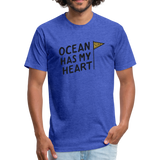 Ocean Has My Heart -  Fitted Cotton/Poly T-Shirt - heather royal