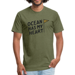 Ocean Has My Heart -  Fitted Cotton/Poly T-Shirt - heather military green