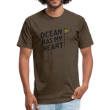 Ocean Has My Heart -  Fitted Cotton/Poly T-Shirt - heather espresso
