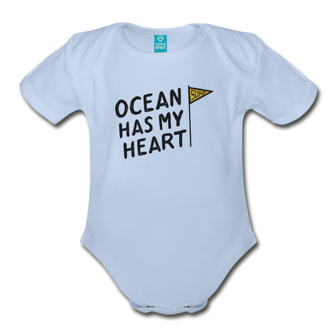 Ocean Has My Heart - Organic Short Sleeve Baby Bodysuit - sky