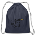 Ocean Has My Heart - Cotton Drawstring Bag - navy