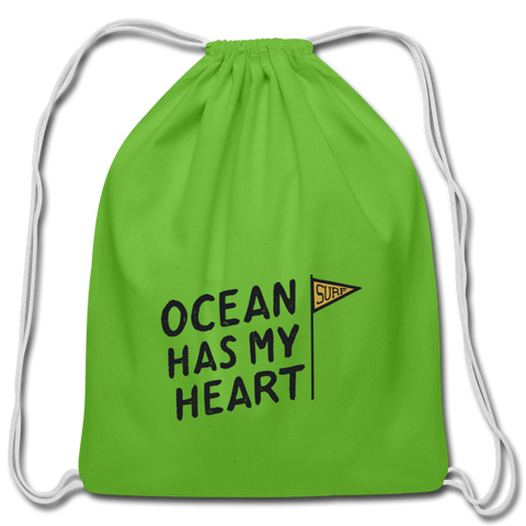 Ocean Has My Heart - Cotton Drawstring Bag - clover
