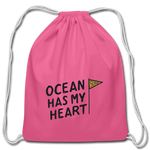 Ocean Has My Heart - Cotton Drawstring Bag - pink