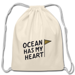 Ocean Has My Heart - Cotton Drawstring Bag - natural