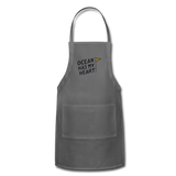 Ocean Has My Heart - Adjustable Apron - charcoal