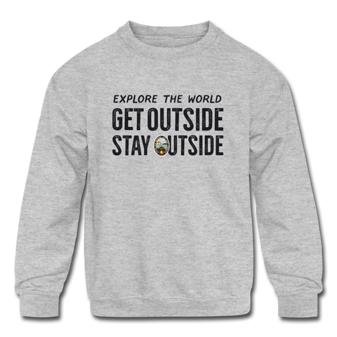 Explore The World - Kids' Crewneck Sweatshirt - heather gray
