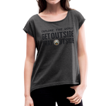 Explore The World - Women's Roll Cuff T-Shirt - heather black