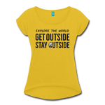 Explore The World - Women's Roll Cuff T-Shirt - mustard yellow