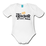 Have A Cracker - Organic Short Sleeve Baby Bodysuit - white