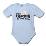 Have A Cracker - Organic Short Sleeve Baby Bodysuit - sky