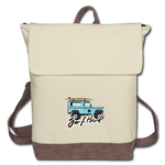 Surf Hard - Canvas Backpack - ivory/brown