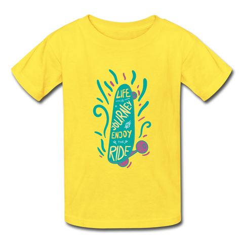 Enjoy The Ride -  Youth Tagless T-Shirt - yellow