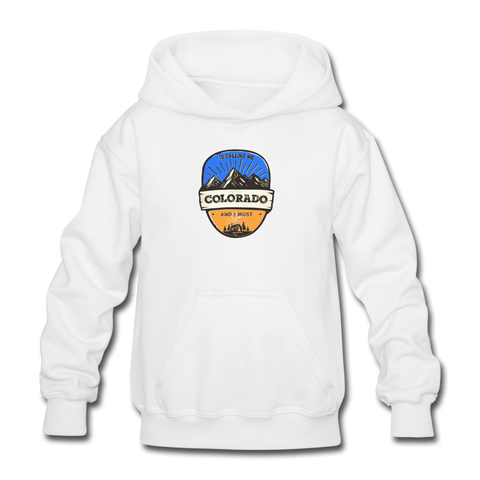 Colorado Is Calling -  Heavy Blend Youth Hoodie - white