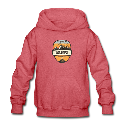 Banff Is Calling - Heavy Blend Youth Hoodie - heather red
