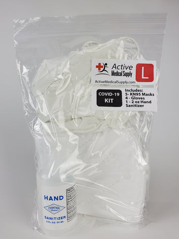 COVID19 PPE Kit - 5 KN95 Masks - 4 Gloves - 1 Hand Sanitizer