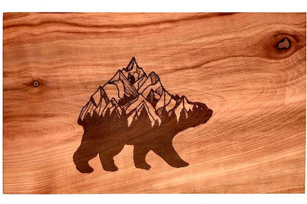 Reclaimed Arbutus Art Charcuterie Board with Mountain Bear Engraving from Designer Woodworks on Vancouver Island