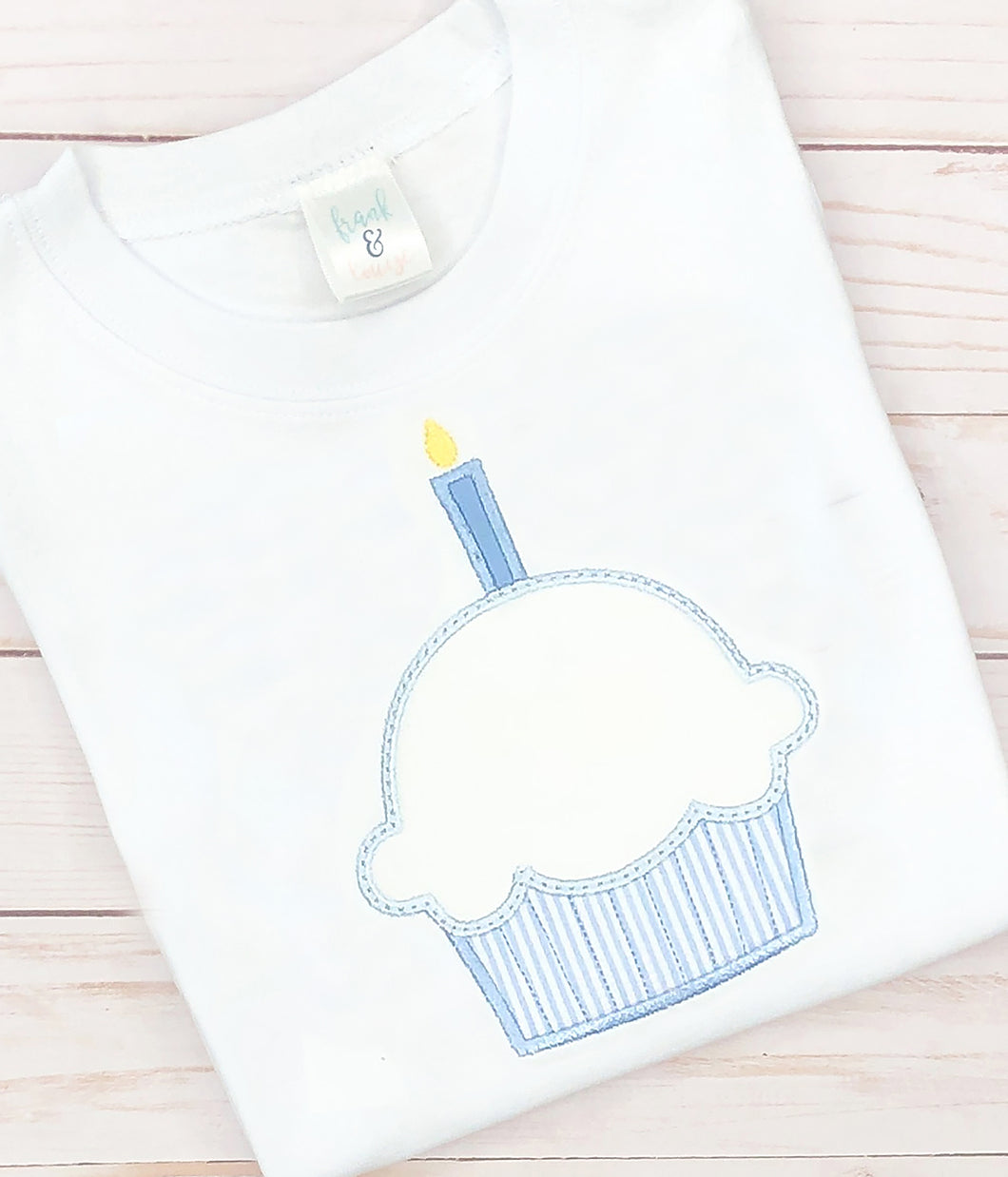 Blue Seersucker Cupcake Shirt