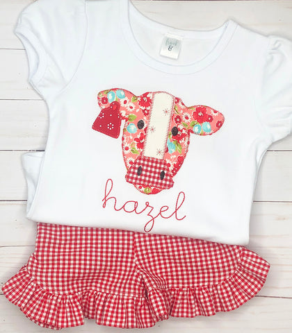 Red Gingham Cow Outfit
