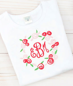 Red Floral Monogram Shirt
