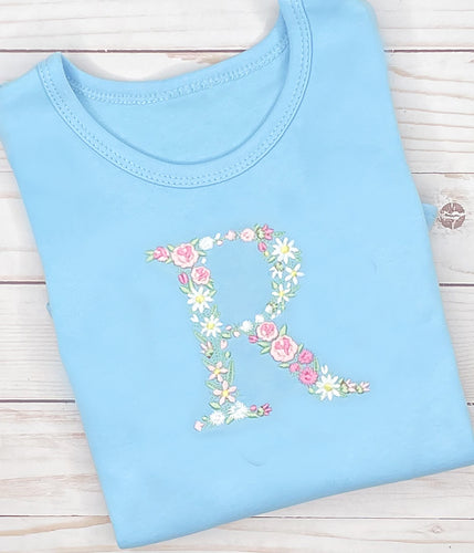 Colorful Floral Initial Shirt