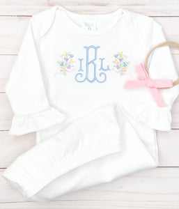 Monogram Bouquet Baby Gown