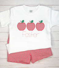 Load image into Gallery viewer, Gingham Apple Trio Shirt & Shorts