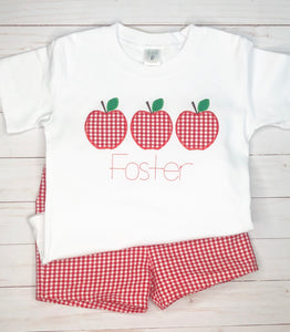 Gingham Apple Trio Shirt & Shorts