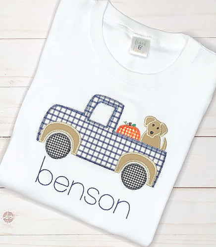 Navy Pumpkin Truck Shirt