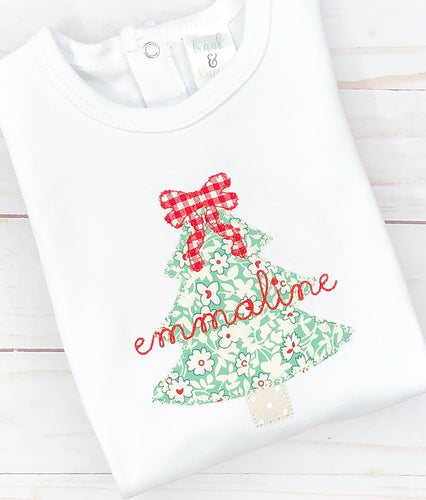 Simple Floral Christmas Tree Shirt