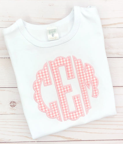 Light Pink Scallop Monogram Shirt