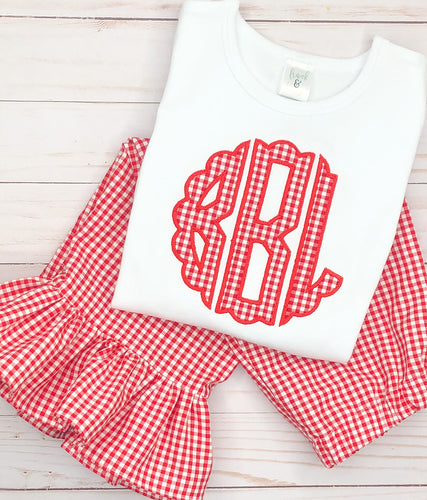 Red Scallop Monogram Pants Set