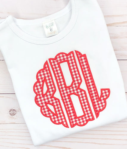 Red Scallop Monogram Shirt