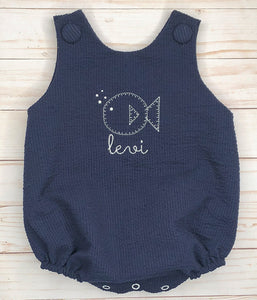 Navy Blue Fish Bubble