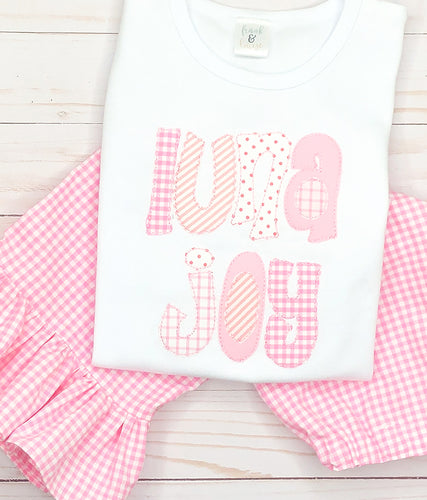Pink Applique Name Pants Set