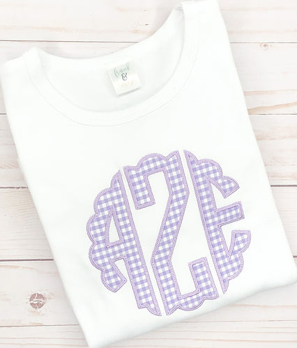 Purple Scallop Monogram Shirt