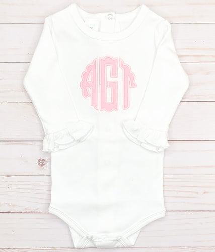 Pink Scallop Monogram Bodysuit