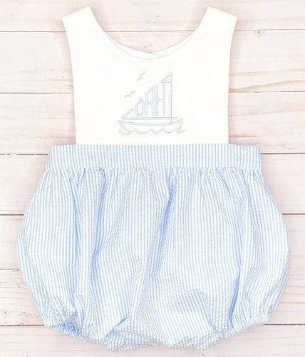Blue Sailboat Sunsuit
