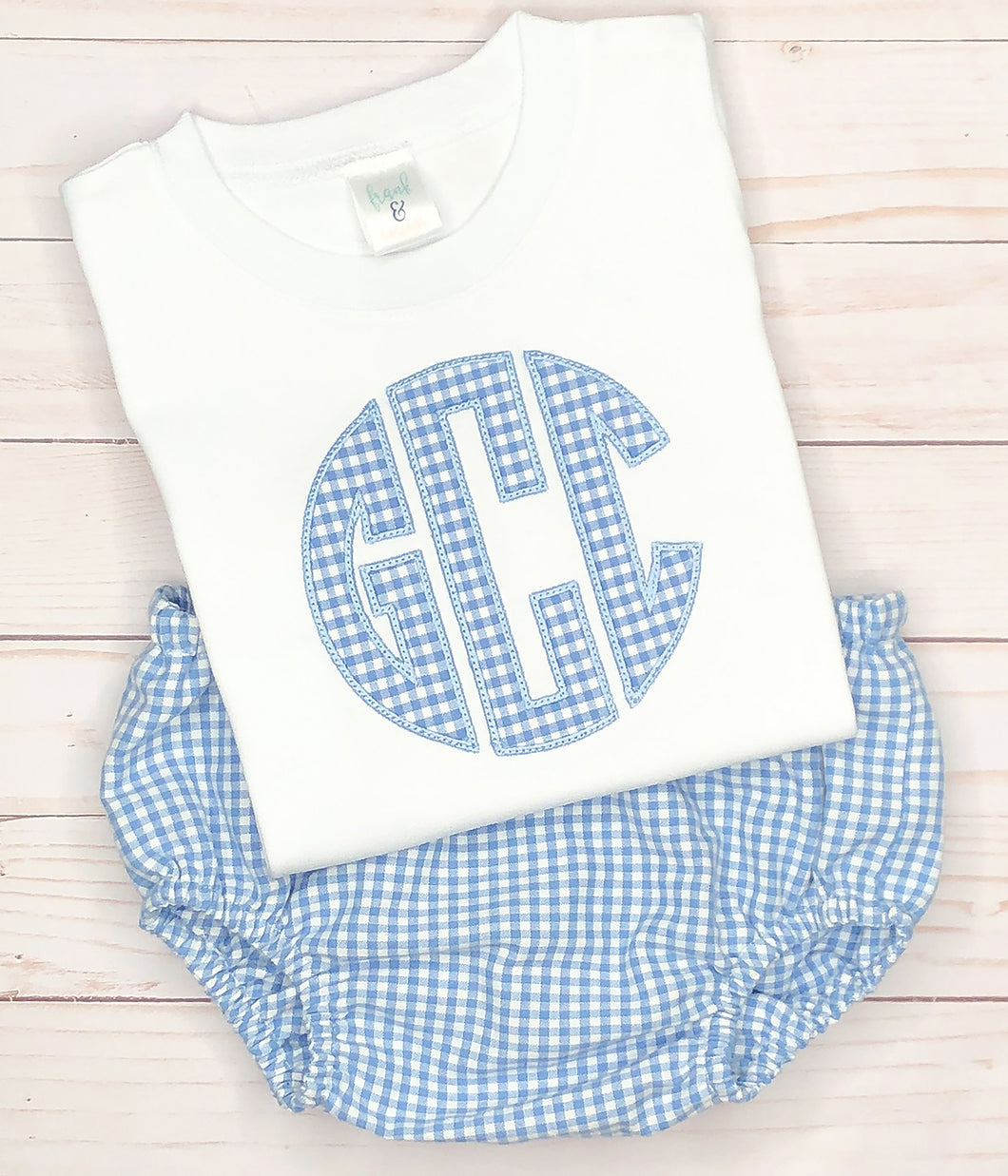 Blue Gingham Monogram Set