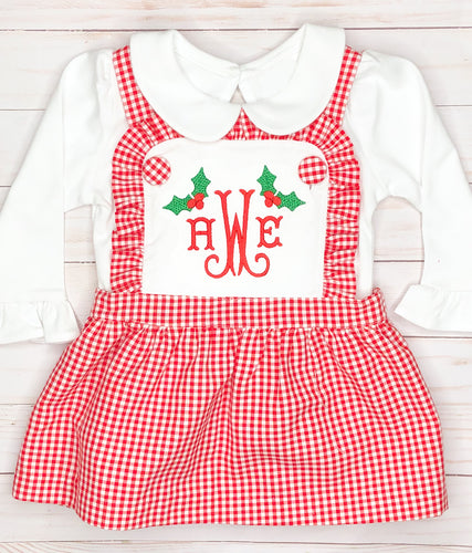 Christmas Ruffle Bib Dress