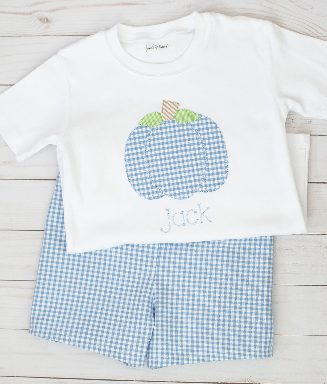 Blue Gingham Pumpkin Set