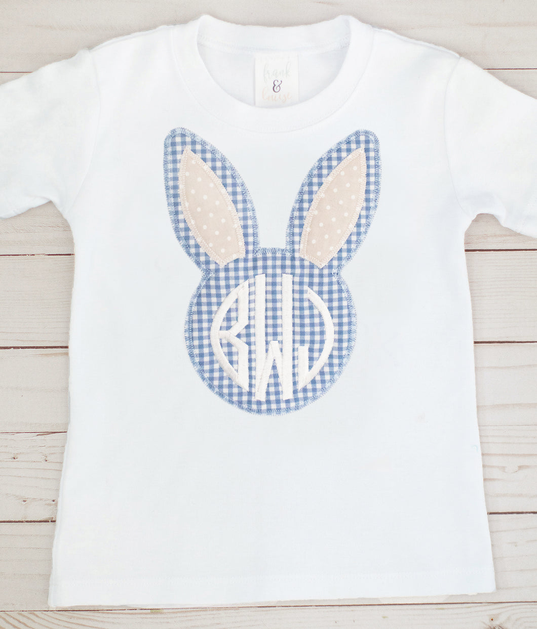Blue & Tan Monogram Bunny Shirt
