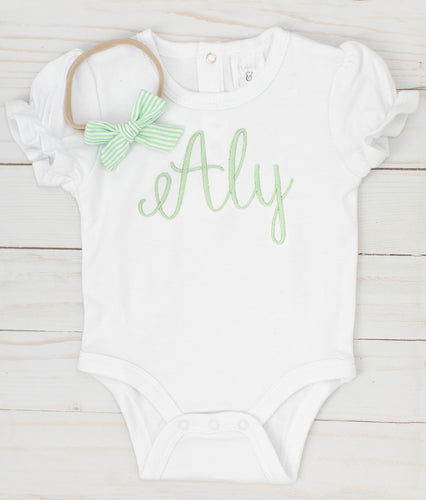 Green Name Onesie