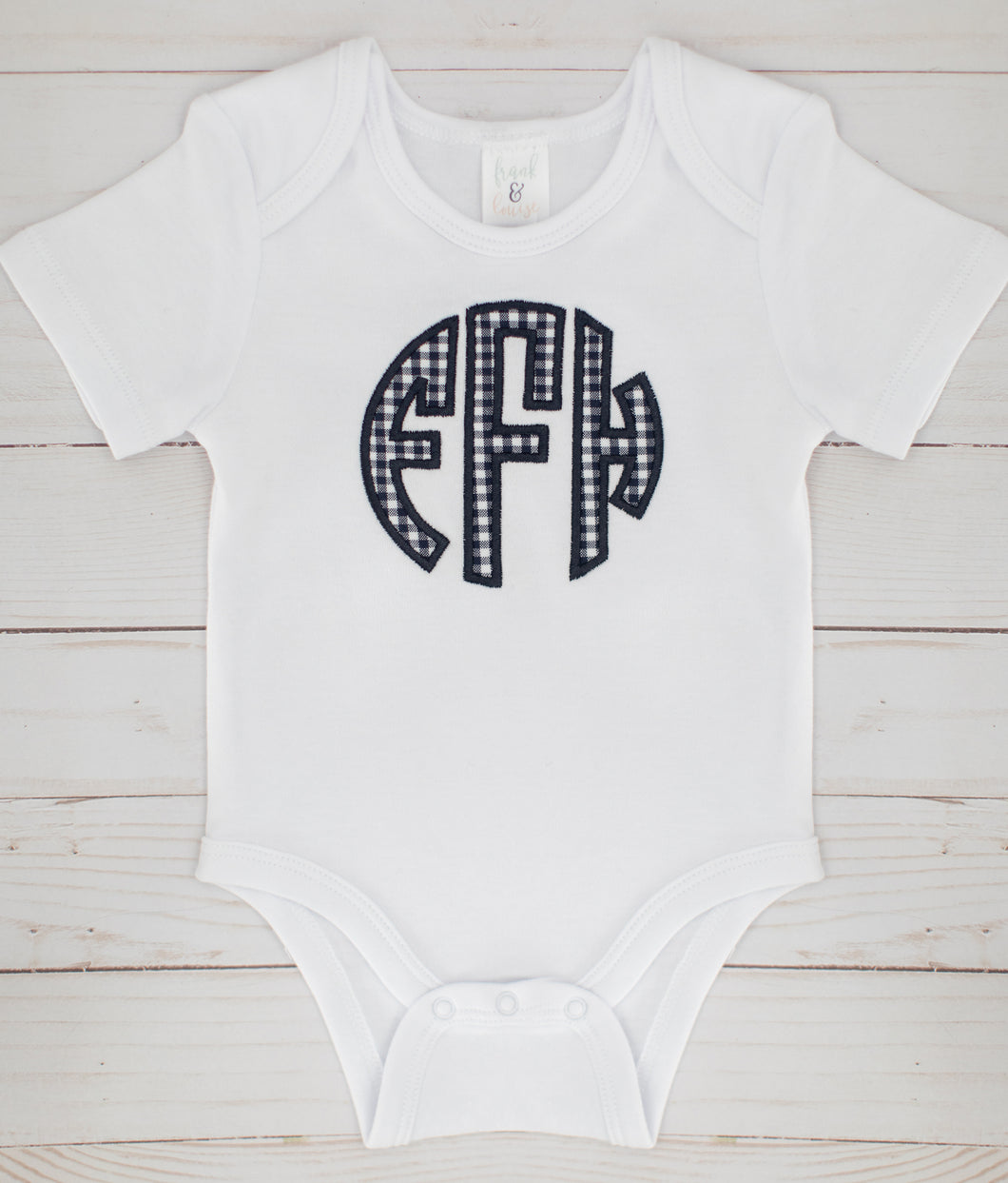 Navy Applique Monogram Onesie