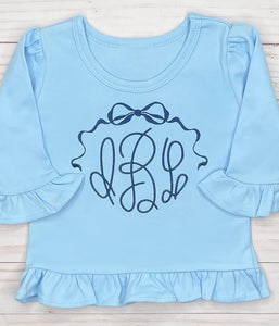 Navy Bow Monogram Shirt