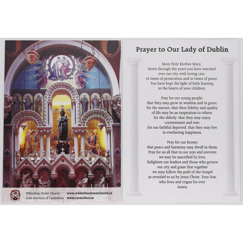 Our Lady of Dublin Prayer Card (Large) Full Shrine