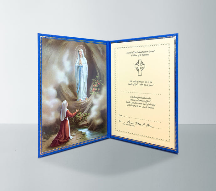 Perpetual Mass Enrolment Card RIP – Our Lady of Lourdes Mass Card online