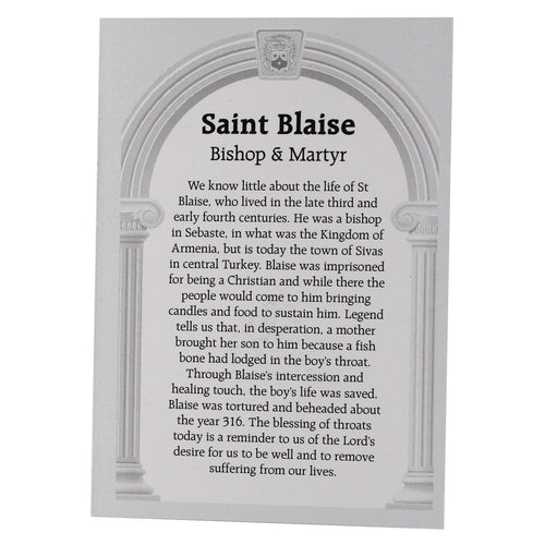 St Blaise Prayer Card & Flannel
