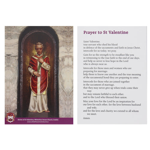 St Valentine Prayer Card with Prayer