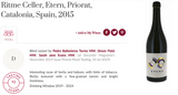 92 puntos Decanter para Etern 2015, Ritme Celler, Priorat