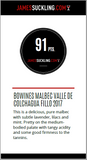 91 puntos de James Suckling para Fillo Malbec
